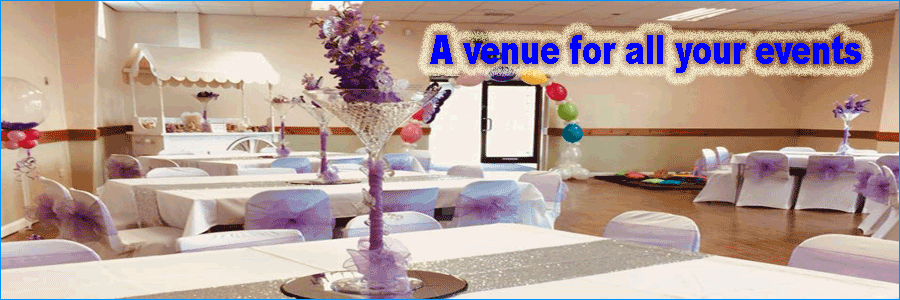 Viwe of function room set out for wedding